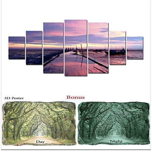 Grande décoration murale sur toile Beachstartonight Bundle Violet vue sur la mer, Big encadrée Peinture, cadeau gratuit Poster 3d Vert arbres