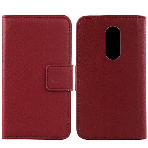 Gukas Design Echt Leder Tasche Für Vernee M6 Hülle Lederhülle Handyhülle Handy Flip Brieftasche mit Kartenfächer Schutz Protektiv Genuine Premium Case Cover Etui Skin (Dark Rot)