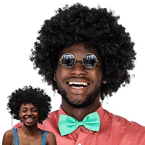 Kostüm Rocker Männer Punk - WILLBOND 2 Stück Jumbo Afro Perücke Männer Jumbo Afro Perücke Jumbo Afro Koteletts Perücke Kostüm Zubehör für Halloween 70 Jahre Punk Rocker Cosplay 80 Jahre 90 Jahre Thema Party