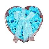 9PCs Herz duftende Bad Seife HARRYSTORE Körper Blütenblatt Rose Blume Seife Hochzeit Dekoration Geschenk (Blau)