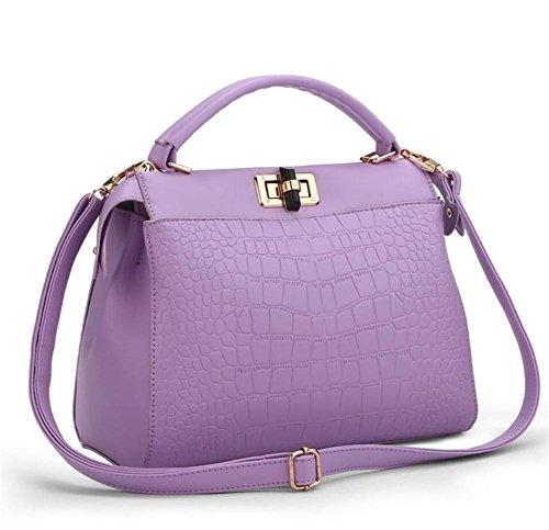 HQYSS Borse donna Le donne cuoio dell'unità di elaborazione di grande capienza rilievo Shoulder Bag Messenger Borsa regolabile Semplice selvaggio Borsa , pink violet