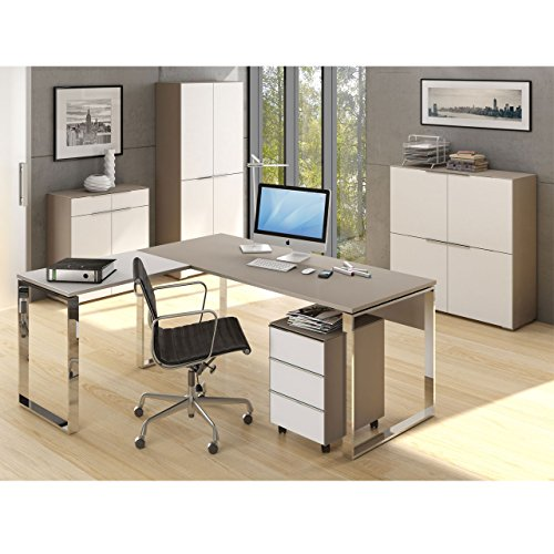 MAJA Büromöbel Komplettset Komplettes Arbeitszimmer YAS in Glas sand matt / Weißglas 6-teilig Brandneues Modell!!!