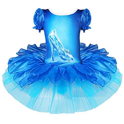 YiZYiF Mädchen Kinder Kostüm Prinzessin Kleid Ballerinas Cinderella Fasching Cosplay Halloween Kostüme Gr. 92-140 (92-98) (Halloween Cinderella)