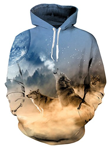 uideazone 3D Bedruckte WöLfe Sweatshirts Pullover Drawstring Hoodie FüR MäNner Frauen Teens
