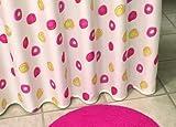 Duschvorhang Textil ~ Motiv: Tupfer / Kreise ~ Farbe: weiß rot und gelb ~ Maße: 180 x 200 cm ~ 100 % Polyester ~ mit 12 Ösen ~ ohne Duschringe
