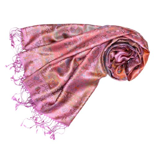 Lorenzo Cana Luxus Pashmina Damenschal Schaltuch jacquard gewebt 100% Seide 70 cm x 190 cm Paisley Muster Seidenschal Seidentuch Seidenpashmina harmonische Farben 78076