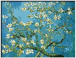 PaintingStudio pittura di DIY dal numero di kit moderni immagini astratte olio a mano Rami con Mandorlo in fiore di Vincent van Gogh 16x20 pollici senza cornice