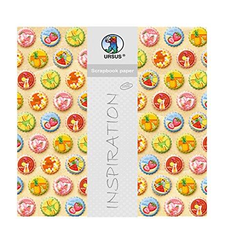 Ursus 703000300 - Premium Glitter Scrapbook paper Happy Hour, ca. 30,5 x 30,5 cm, 5 Blatt, Motiv 300