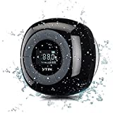 Shower Speaker, VTin Bluetooth 4.0 Speakers Shower Radio with FM, Waterproof Shower Speaker with Suction Cup , LCD Display Design,10 Hours Playing Time, Crisp Sound with Built in Mic for iPhone, Pool, Beach, Golf, Home- Black
