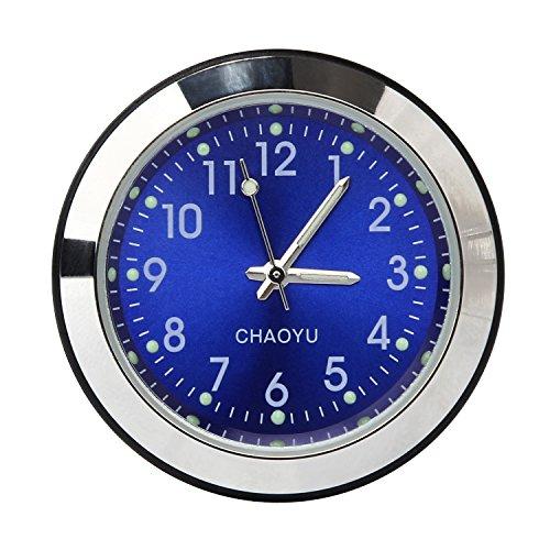 Universal Autouhr Auto Motorrad Aufbauuhr wasserdicht Einbauuhr Car Zeituhr Cockpituhr Clock Analog Quarz von Discoball ca. 3.8 x 3.8 x 1.1 cm (Blau)