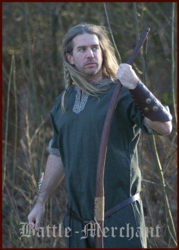 16. Jahrhundert Männer-kleidung (Mittelalterliche Tunika Kurzarm, grün - für LARP, Wikinger, Mittelalter Größe L)