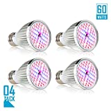 Led Grow light Bulb, 60W Full Spectrum Grow lights E27 Grow Plant Light for Hydroponics Greenhouse Organic, Lights For Fish Tank, Hydroponic Aquatic Indoor Plants,Pack of 4