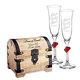 Casa Vivente Set Cofre de Madera Clara y 2 Copas de Champagne Juego Personalizado con 2 Nombres y Fecha Motivo Palomas