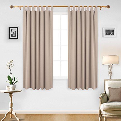 Badezimmer-set Mit Fenster-vorhang (Deconovo Verdunkelungsvorhang Schlaufen Gardinen Wohnzimmer Vorhang Blickdicht 175x140 cm Taupe 2er set)