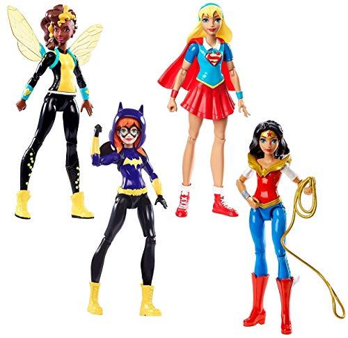 4in1-SET DC Super Hero Girls | Mattel | Wonder Woman + Supergirl + Batgirl und Bumble Bee | Größe: 15cm