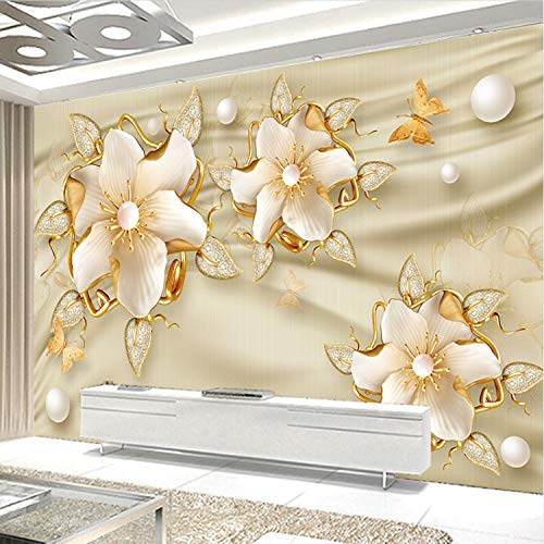 Foto Wallpaper 3D Luxury Golden Jewelry Fiori Silk Jewelry...