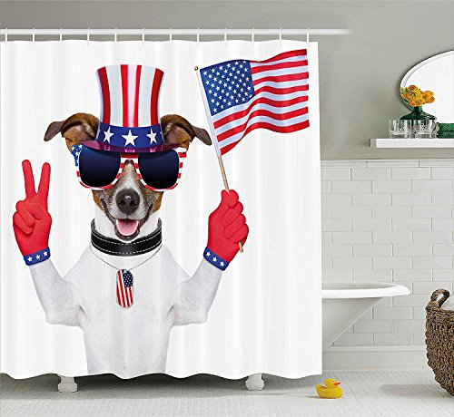 Onkel Sam Hats - Soefipok 4. Juli Duschvorhang, lustiger Haustier-Hund