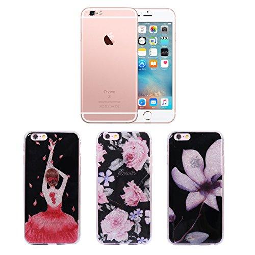 [3 Pack] iPhone 6S Hülle - Fraelc iPhone 6 Case Bling Glitzer Glänzende Schutzhülle Weiche Flexible TPU Silikon Bumper Handyhülle für Apple iPhone 6 / 6S (4,7 Zoll) Gummihülle mit Flamingo + Einhorn + Prinzessin Rose Blume