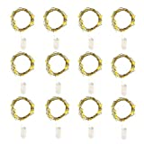 Magardar Christmas string Lights Fairy Lights,12 micro da 20 LED 2 m di filo di rame luci a batteria Decor Rope Lights for Seasonal decorative Christmas Holiday, wedding, casa, party Warm White