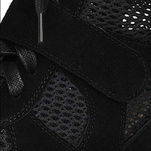 Mr. LQ - Moda femminile Vera Pelle casuale Sneaker Black