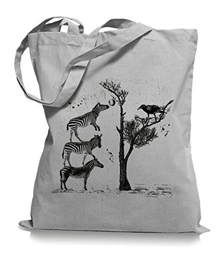 Zebras Stoffbeutel |Apfelbaum Tragetasche Krähe Light Grey