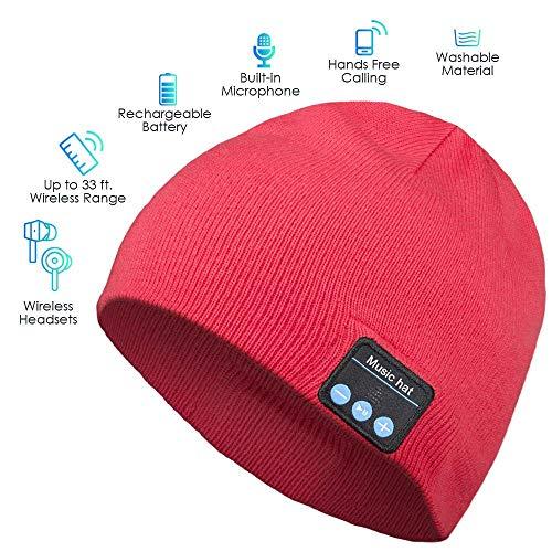 LETAMG Bluetooth Hut Drahtlose Bluetooth Kopfhörer Beanie Hat Geschenke für Männer und Frauen, Winter Strickmütze Bluetooth Kopfhörer, Hand-Free Calling Red - Red Hands Free-headset