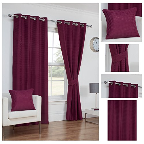 Waffle Aubergine Ring Top / Eyelet Fully Lined Readymade Curtain Pair  66x90in(167x228cm) Approximately By Hamilton McBride®