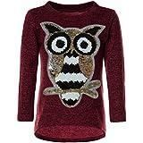 BEZLIT Mädchen Pullover Pulli Wende-Pailletten Sweatshirt Vogel Motiv 21601 Bordeaux Größe 116