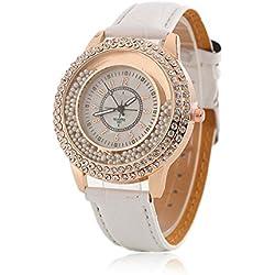 Women Fashion Designer Quartz Watch with White Leather Band Ladies Rhinestone Wristwatch Diamond - Crystal Circle Bezel Drifting Small Beads Decoration
