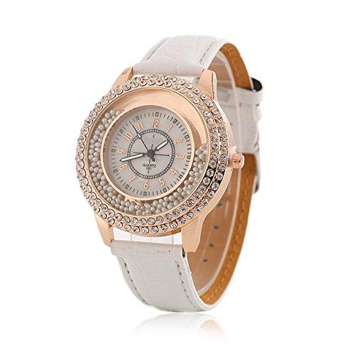 Frauen Fashion Designer Quartz armbanduhr damen Uhr mit Weiß Leder Band – Kristall Kreis Driften Kleine Perlen Dekoration
