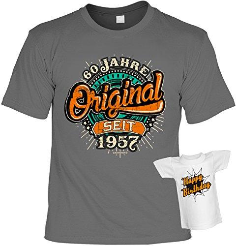T-Shirt zum Geburtstag - 60 Jahre Original seit 1957 - Im SET mit gratis Mini Shirt - Geschenk - anthrazit Anthrazit