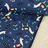 French Terry Stoff Weihnachten mit Alpakas Royalblau