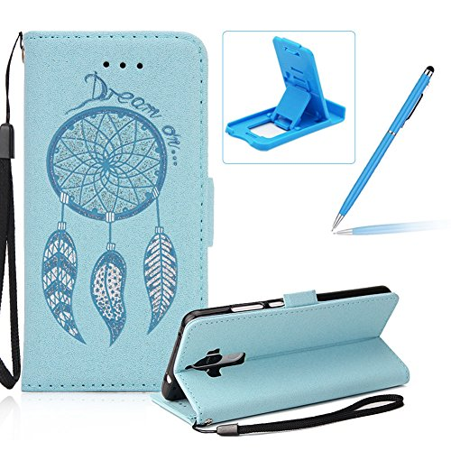 cover-huawei-mate-9-pro-custodiaherzzer-attraente-sparkle-bling-glitter-blu-campanula-dreamcatcher-p