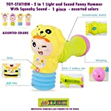 #2: Toy-Station - 2 in 1 Light and Sound Funny Hammer with Squeaky Sound- 1 Piece
