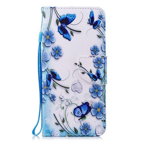 Preisvergleich Produktbild HopMore Samsung Galaxy S9 Silikon Leder Hülle mit Kartenfach Klappbar Design Muster Bumper Ledertasche Magnetverschluss Standfunktion Holster Bookstyle Schutzhülle Handyhülle Tasche Schale Cover Case pour Galaxy S9 -- Blauer Schmetterling