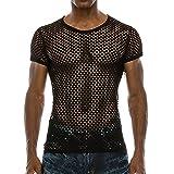 BURFLY Männer Netz Hemd Shirt, Herren Sommer Casual Muscle Pullover mit Kurzen Ärmeln Mesh Fit Underwear Shirt Top Bluse (M, Schwarz)