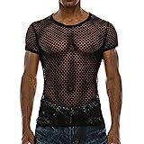 BURFLY Männer Netz Hemd Shirt, Herren Sommer Casual Muscle Pullover mit Kurzen Ärmeln Mesh Fit Underwear Shirt Top Bluse (XL, Schwarz)