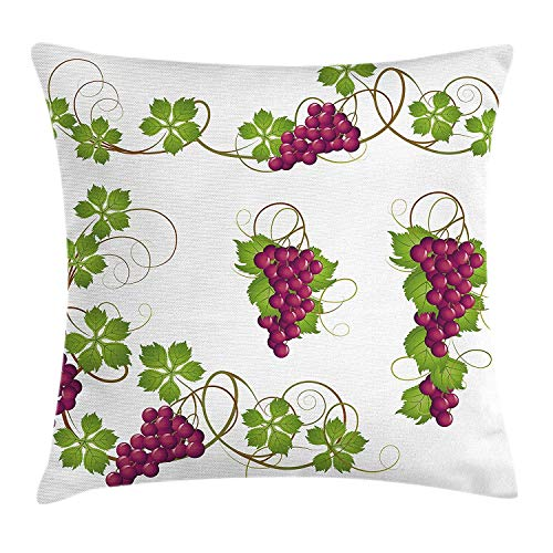 VVIANS Vine Throw Pillow Cushion Cover, Grapevines Leaves Fruit Swirls Pattern Agriculture Harvest Yield Good Food Nature, Decorative Square Accent Pillow Case, 18 X 18 inches, Magenta Green Tan Grapevine