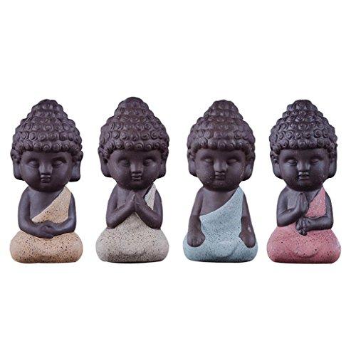 Sharplace 4 Stk. Lila Sand Mönch Buddha Figur Skulptur Statuen Set, (Mini-keramik-figuren)