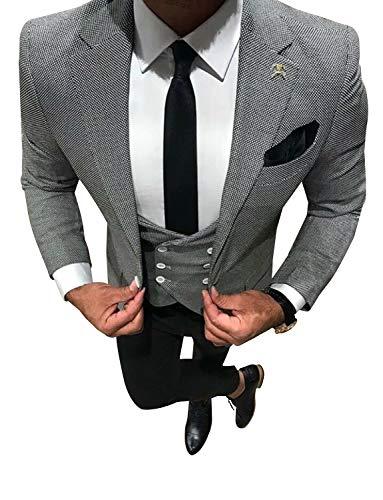 YYI Herren Plaid Anzüge Slim Fit Formale 3 Stück Anzug Smoking Jacke Weste & Hose