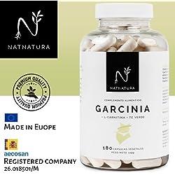 Garcinia Cambogia + L-Carnitina + Té verde. La mejor fórmula Quemagrasas para adelgazar. Máxima calidad y efectividad. Termogénico potente. Fórmula con alta concentración de HCA 60%. 180 cápsulas vegetales. PREMIUM QUALITY.
