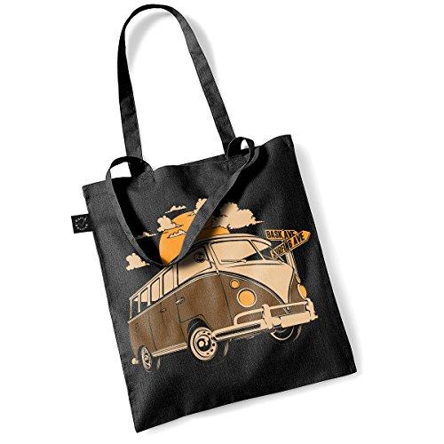 Earth Positive Classic Shopper Tote Bag Einkaufsbeutel Tragebeutel mit langen Henkeln Frankenstein (Schwarz) -