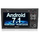 PUMPKIN Android 7.1 32GB + 2GB Autoradio DVD Player für Audi A4 mit GPS Navigation 7 Zoll Bildschirm unterstützt Bluetooth WLAN DAB+ Subwoofer Fastboot USB MicroSD