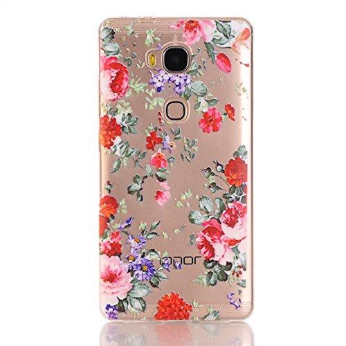 "Saxonia Schutzhülle + Panzerglas Apple iPhone 8 / iPhone 7 (4,7"") Hülle Ultra Slim Silikon Case Cover mit Design / Motiv Dont Touch My Phone Transparent (klar) Rote Blumen"