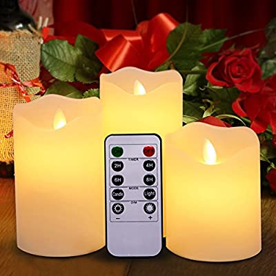 Flameless Led Candles by Harcas. Set of 3 Battery Operated Electric Candles with Remote Control. Genuine Wax with Realistic Flickering Flame Effect. Create The Perfect Ambience Around Your Home. White from London Homeware Group