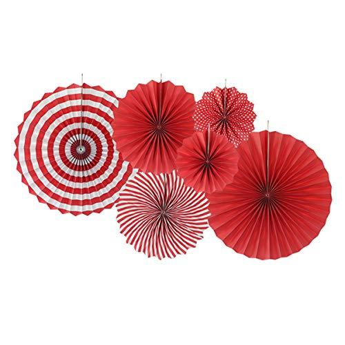 ApisNest 6 Set Rot Papier Fächer Set,Pompoms Tissue Blumen, Hängende Deko für Geburtstag/Babyparty/Hochzeit/Neujahr/Baby Dusche -