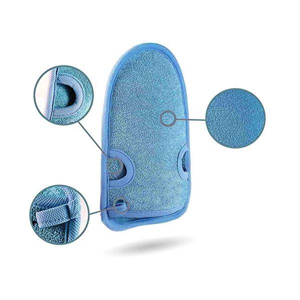 INTVN 3 Pieza guantes exfoliantes, hecho de fibra de carbón de bambú natural, limpiar euerpo, exfoliación, masajee, spa, anti celulitis, obtener piel suave (rosa/azul/verde)