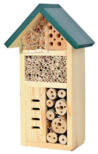 dobar 22648e Insektenhotel -Zur Goldenen Biene-, fertig gebautes Insektenhaus, Bienenhotel aus stabilem Vollholz, Marienkäferhaus/Wildbienenhotel klein, 15×8,5×25,5cm