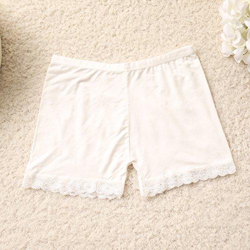 Unterhosen Unterwäsche Bambusfaser Damen Spitzen Leggings Hose Slip, Weiß 506 Greatlpk White 8028