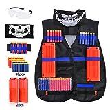 Taktische Weste für kinder - Taktische Weste Jacke Kit für Nerf Gun N-Streik Elite-Serie mit 40Pcs Darts Kugeln, 2Pcs 12-Dart Quick Reload Clips, 1Pcs 8-Dart Armbänded, nahtlose Gesichtsmaske & Goggle